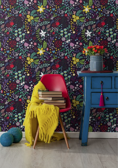Red, yellow blue floral wallpaper