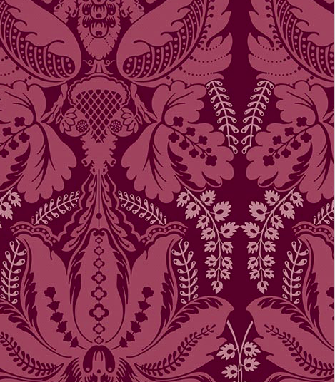 Victoriana pink and wine coloured patterned wallpaper