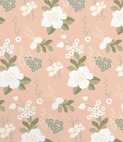 Peach and white flowered wallpaper
