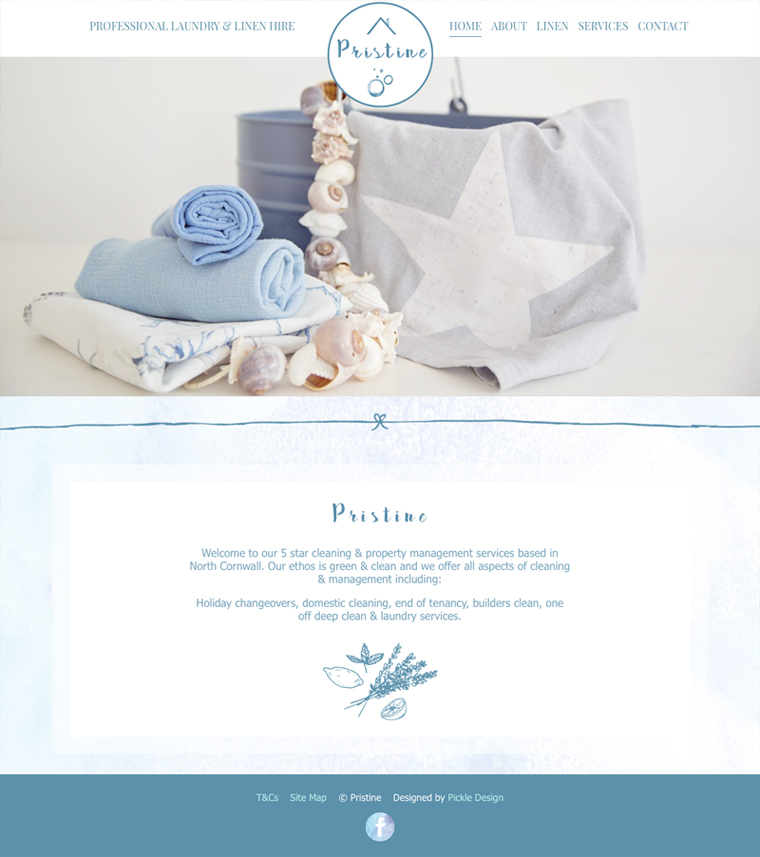 Pristine Linen Cornwall website