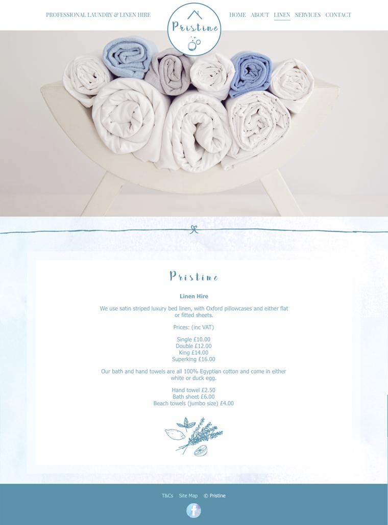 Pristine linen and laundry web design