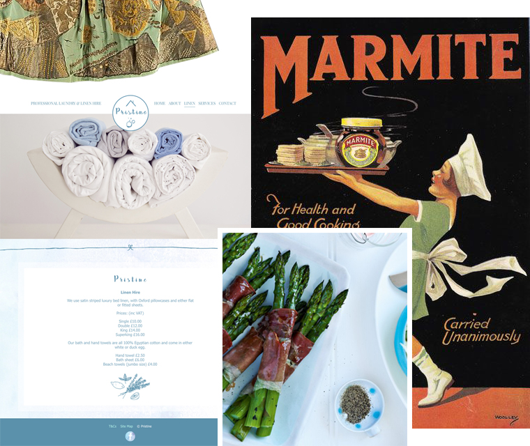Marmite, website design, asparagus wrapped in parma ham and French silk dress montage