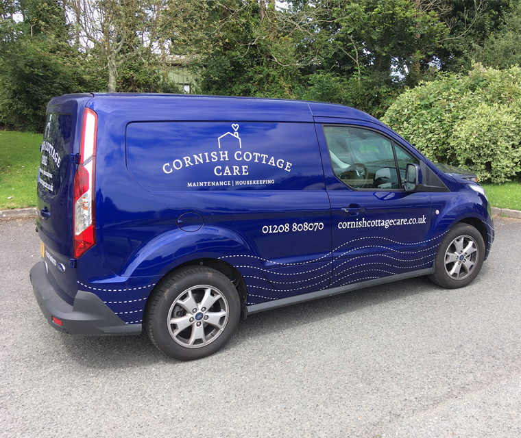 Cornish Cottage Care vehicle sign writing using the new brand