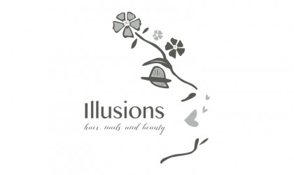 Illusions Hair and Beauty illustrated logo design