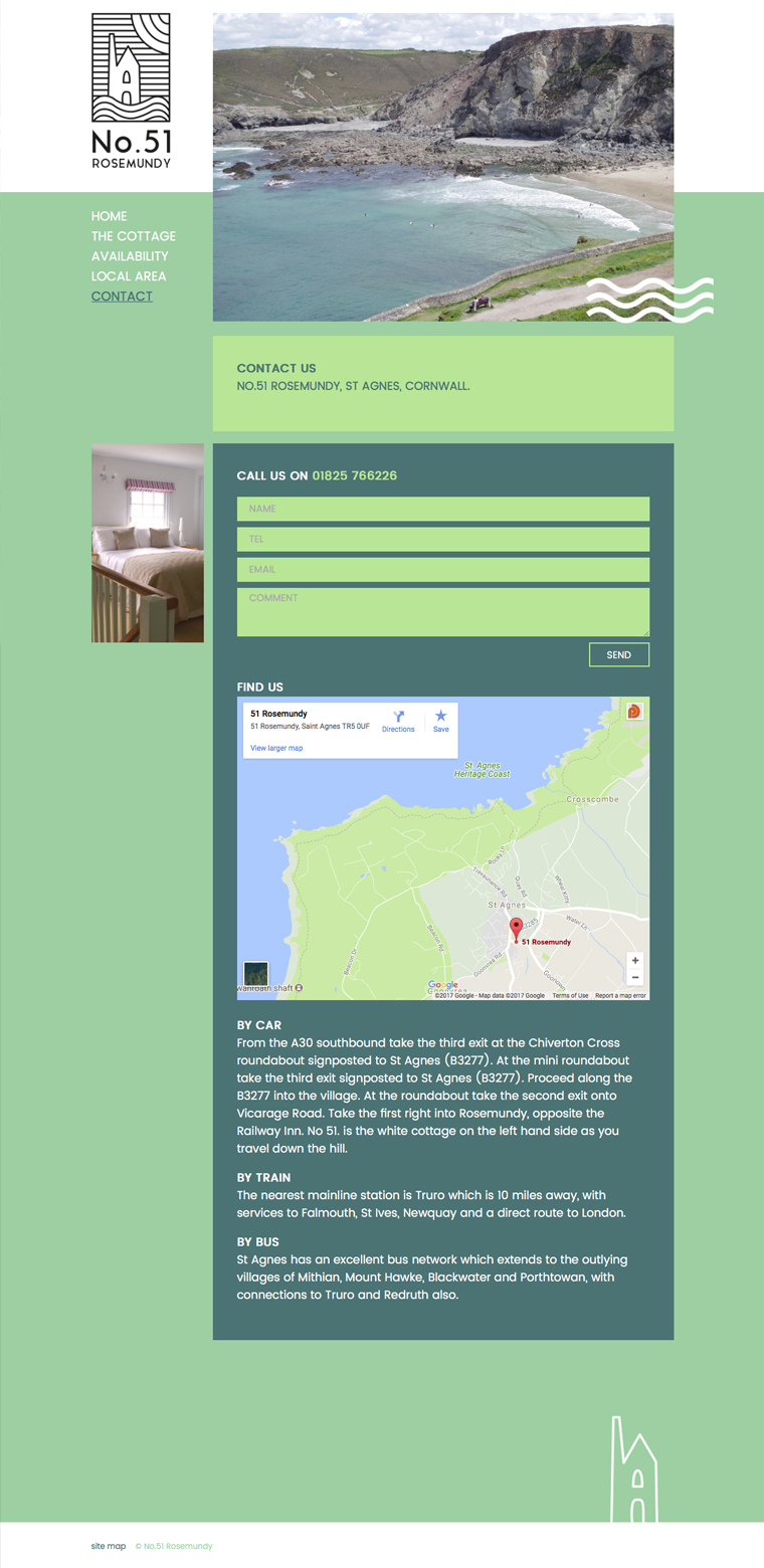 No.51 Rosemundy self catering cottage contact page from their website