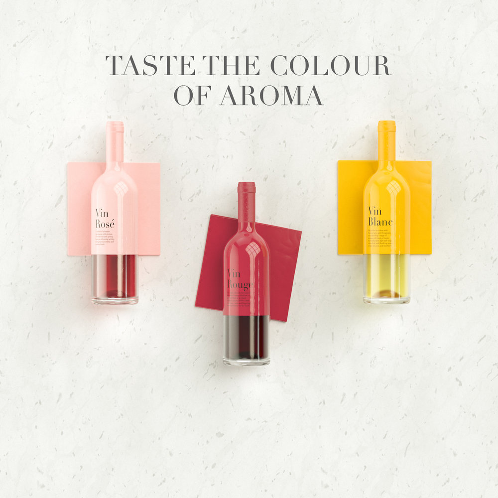 Taste the colour of aroma packaging for wine showcase