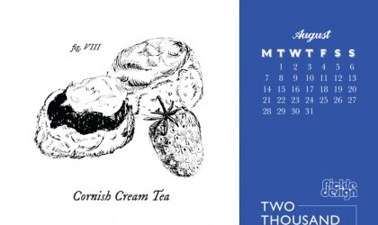 Download our August 2017 calendar illustrating a Cornish Cream Tea