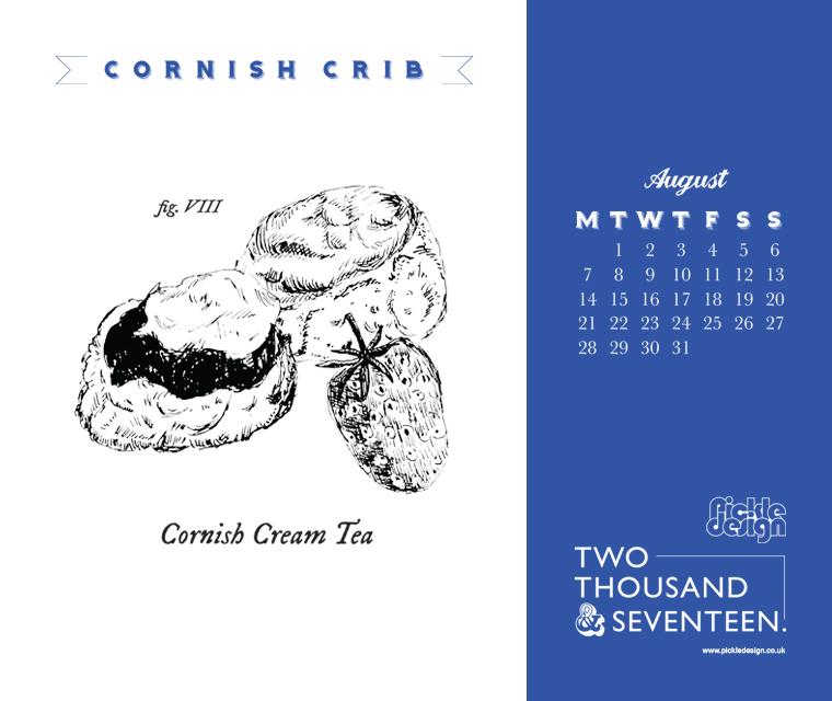 Download our August 2017 calendar illustrating a Cornish Cream Tea