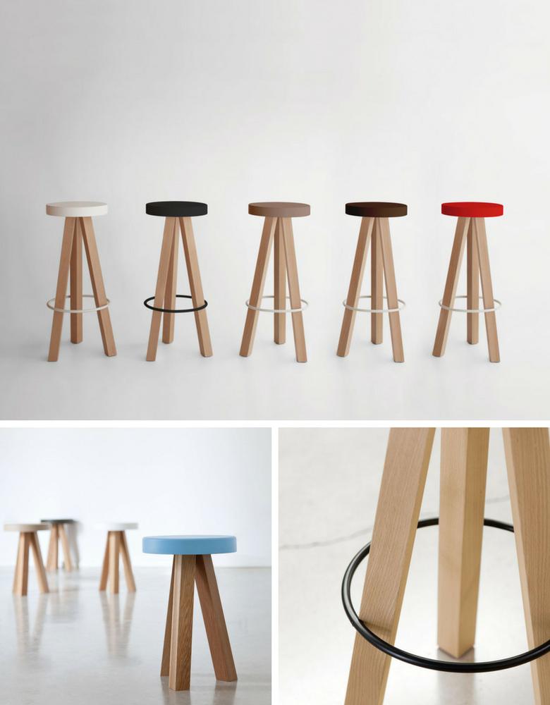 Three legged stool with bright coloured seat and oak legs