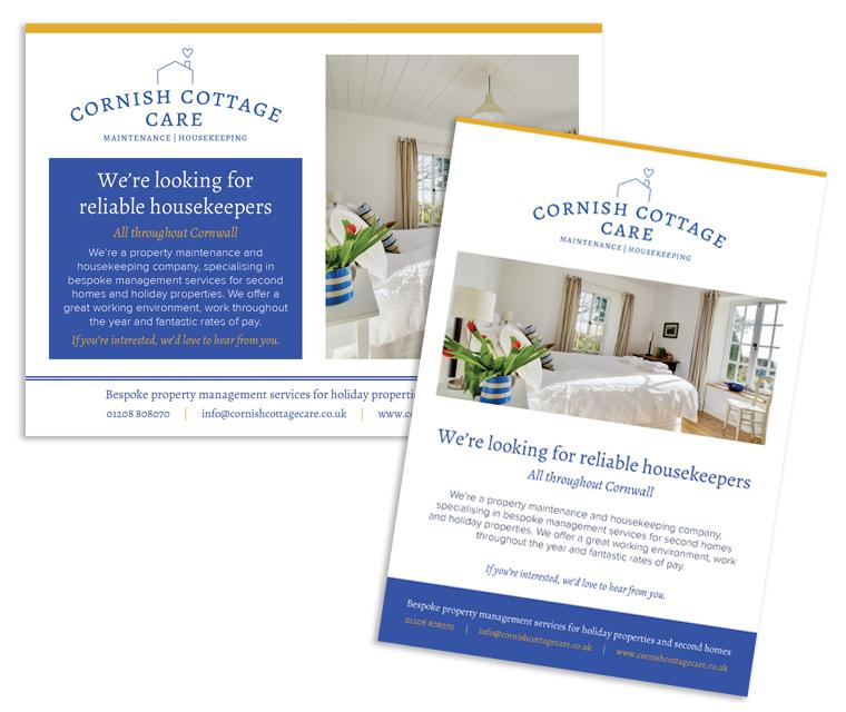 Advert design for Cornish Cottage Care