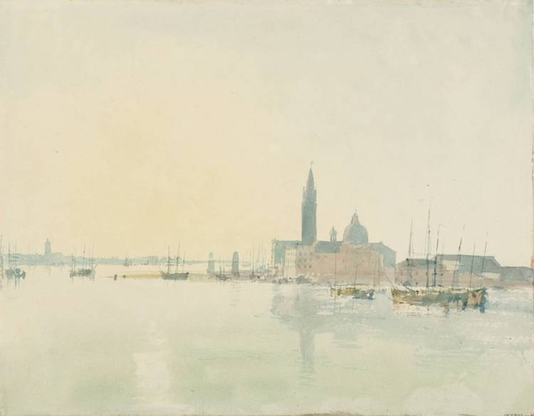 Watercolour of venice in pastel tones by artist Turner