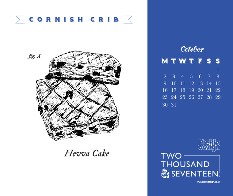 Hevva cake illustrated for Pickle Design's October Contish Crib calendar download