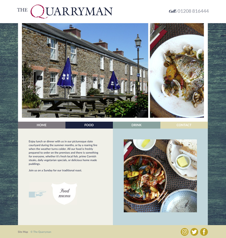 The Quarryman out food page from their website
