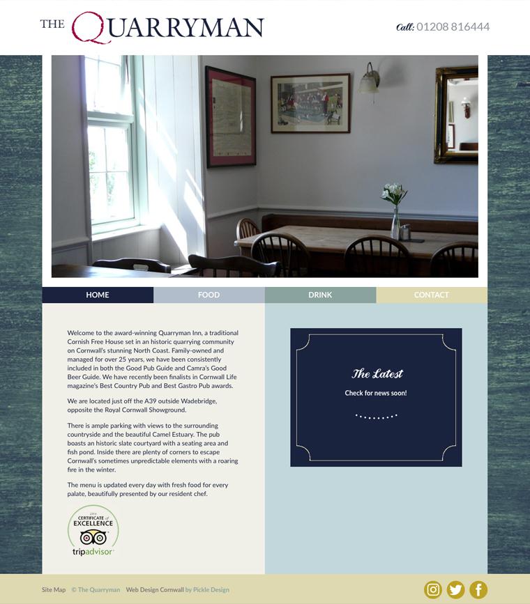 The Quarryman pub website