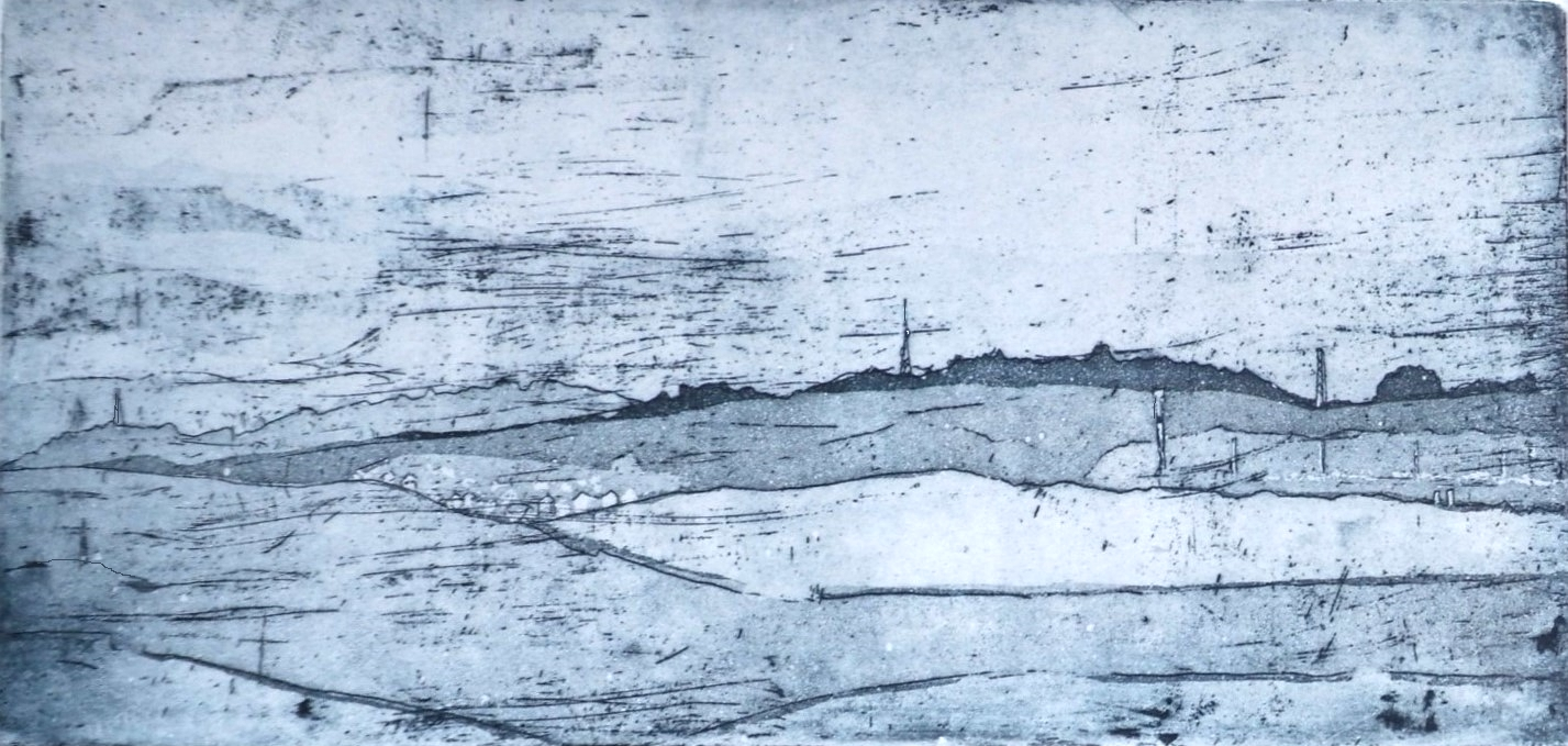 Jamie Barnes etching on the edge of town