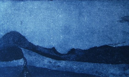 Moody blue etching by British print maker Jamie Barnes