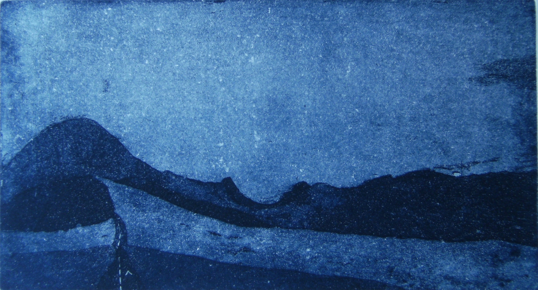 Moody blue etching by British print maker Jamie Barnes
