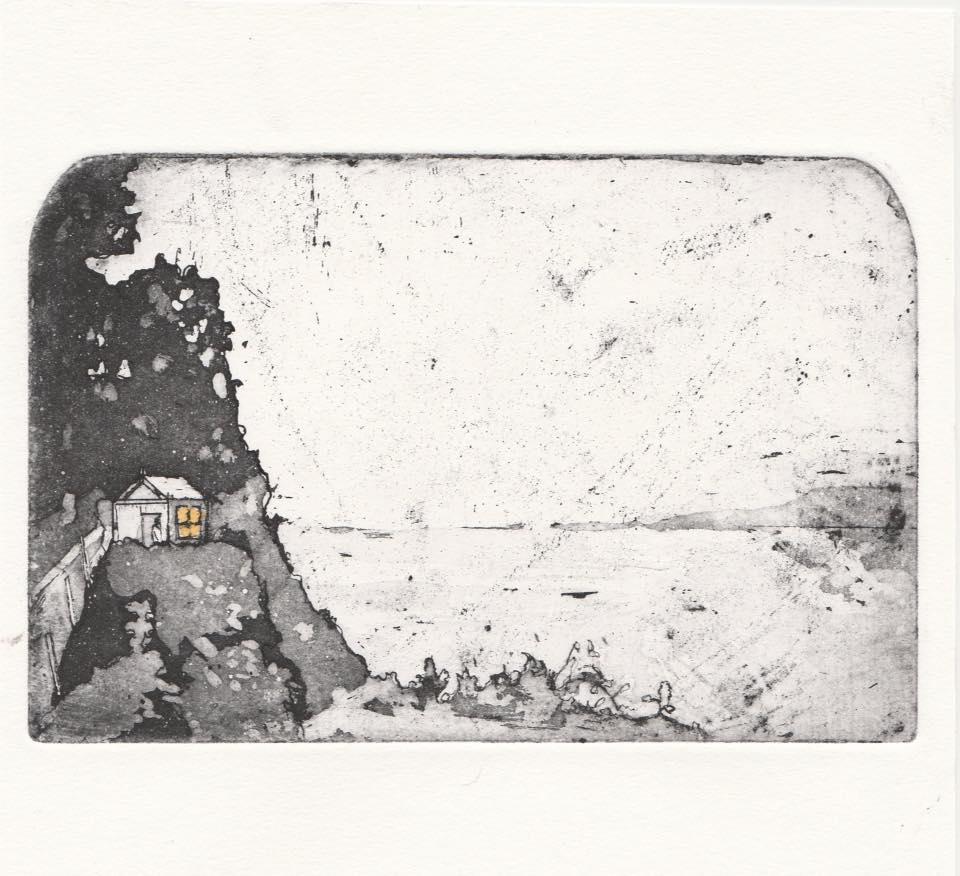 Dylan Thomas writing hut etching by Jamie Barnes