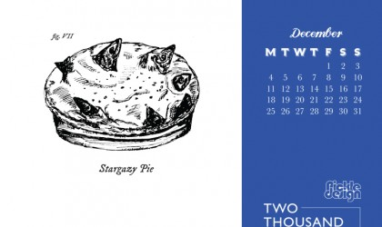 Download for free the Pickle Design December calendar of Cornish Crib featuring our illustration of the Stargazy pie