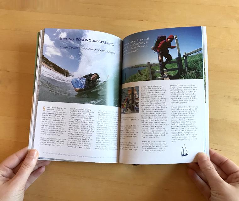 Blueriver Cottages magazine spread designed by Pickle Design