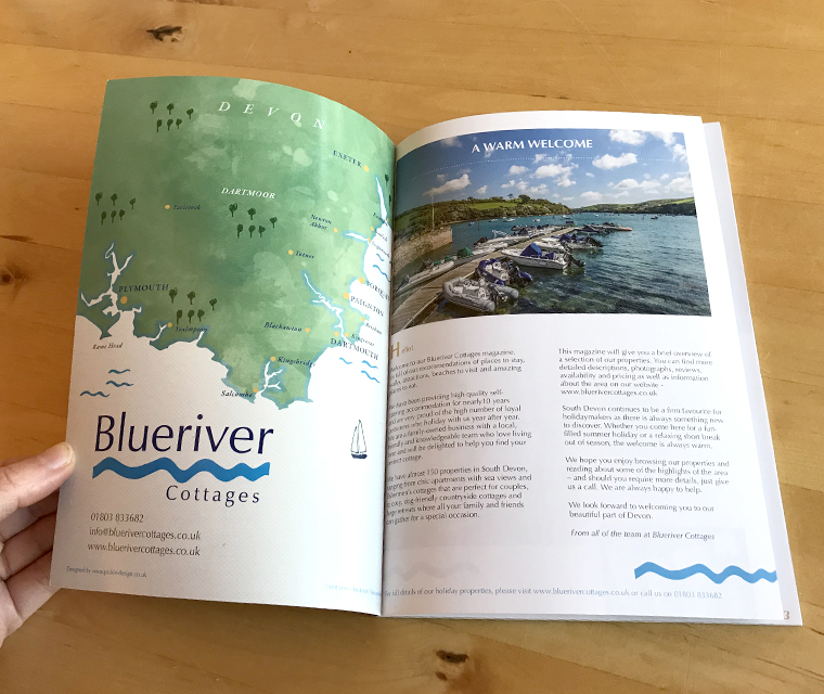 Blueriver magazine with hand illustrated map