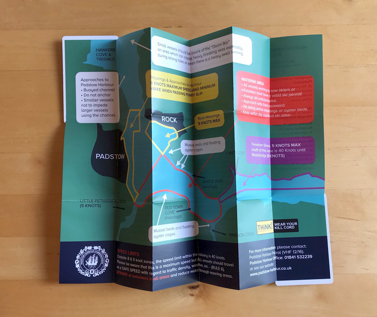Fold out pocket map for the Padstow Harbour Commissioners