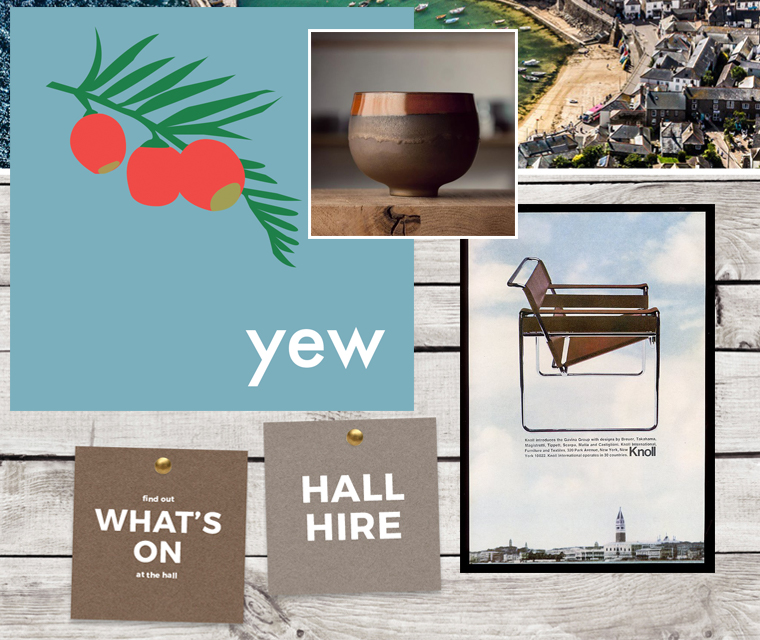 Yew tree calendar, the sassily chair, and a community hall website with a Parisian ceramic pot all in the Pickle Design newsletter