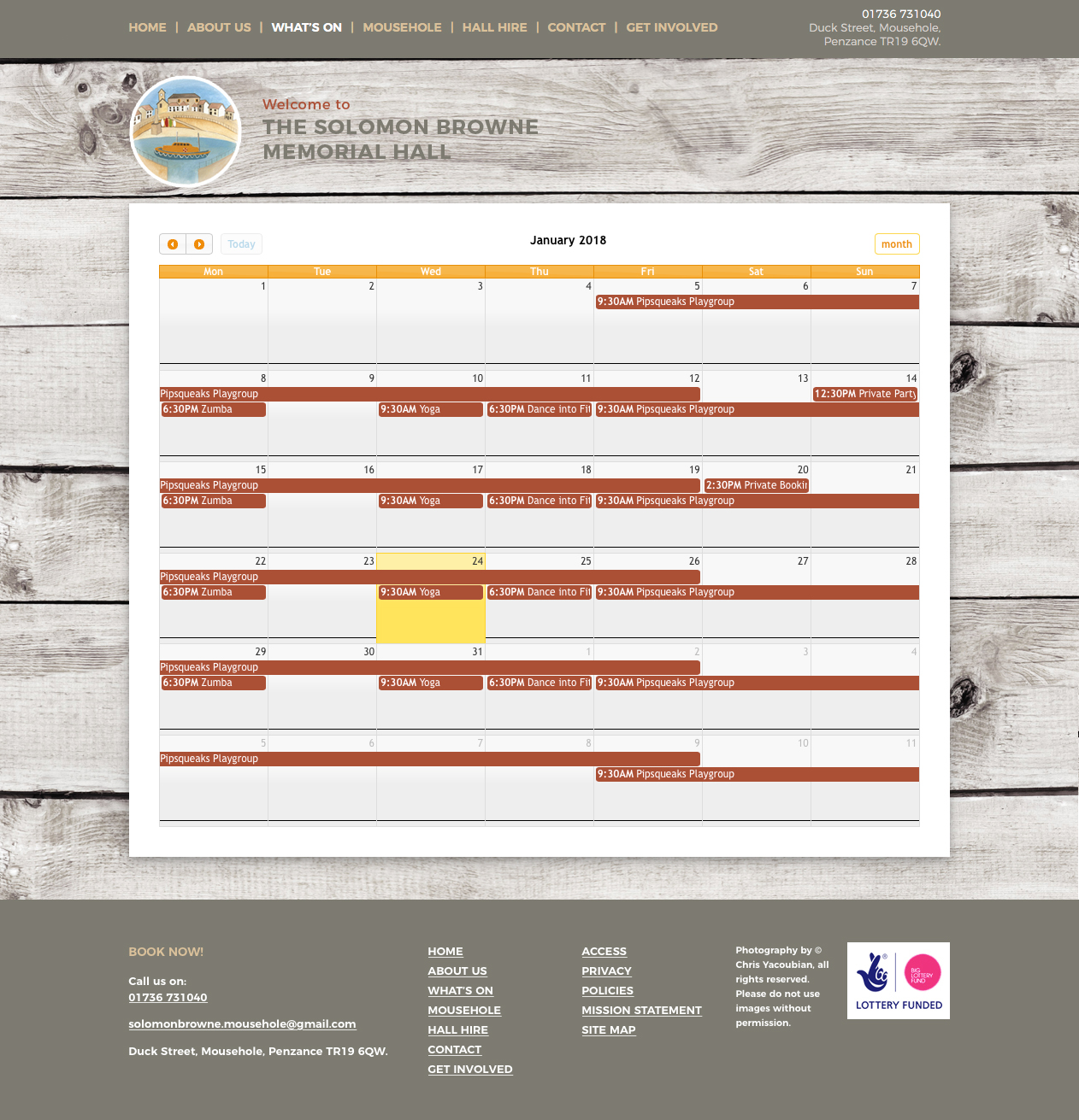 editable calendar for the solomon browne website
