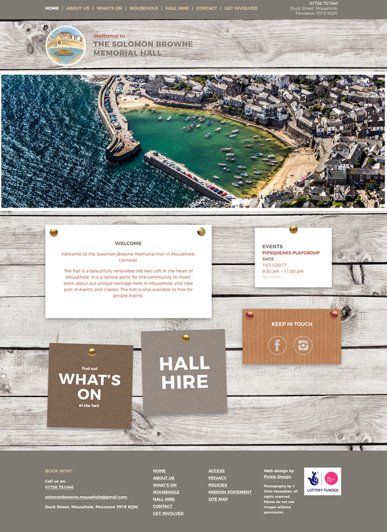 Solomon Browne memorial hall website by Pickle Design