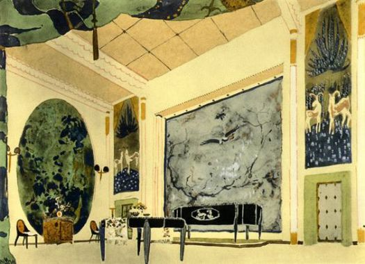 Green and black painted room by Emile-Jacques Ruhlmann