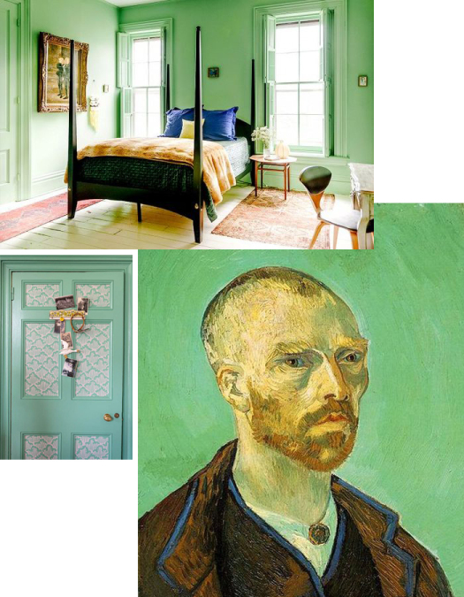 Vincent Van Gogh green, four poster bed in arsenic painted room and Art Deco wallpapered door