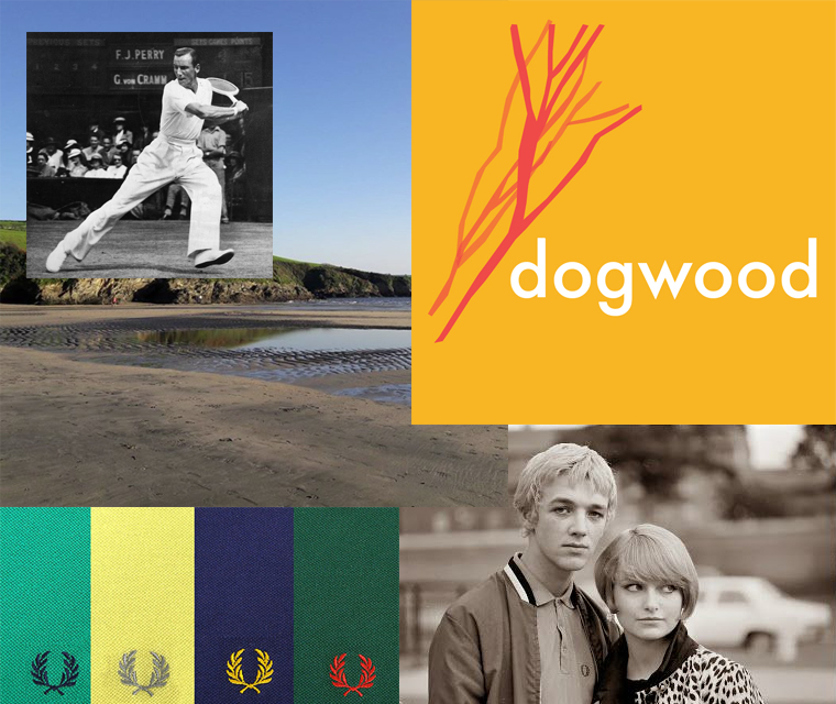 A sneak peek at our February newsletter with the Dogwood tree facts, Fred Perry shirt design classic and Par beach photographed for Instagram