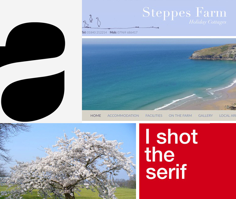 March newsletter with font Helvetica, cherry blossom, website design Cornwall and posters