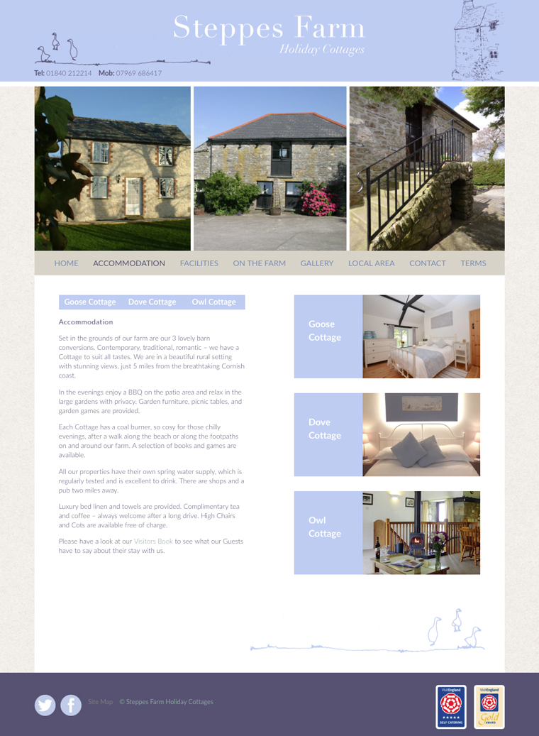 Steppes farm holiday cottages webs design