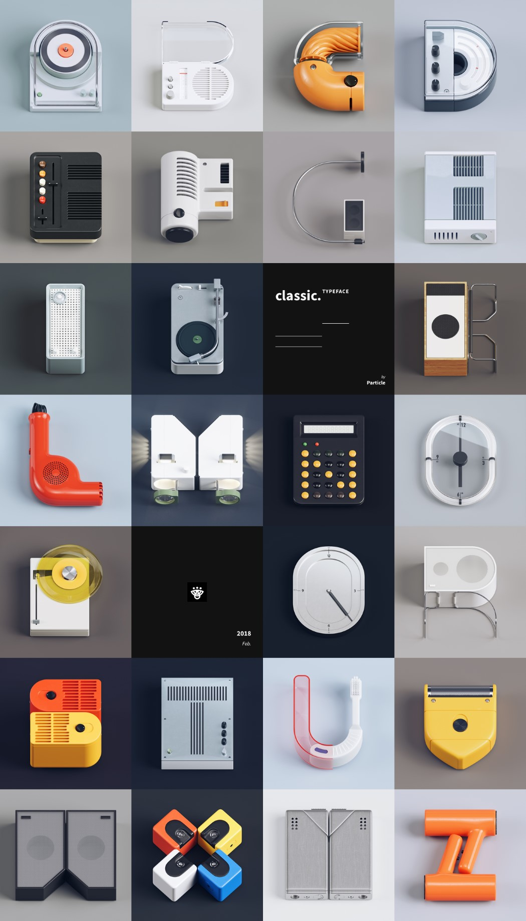 Braun product design turned into the alphabet