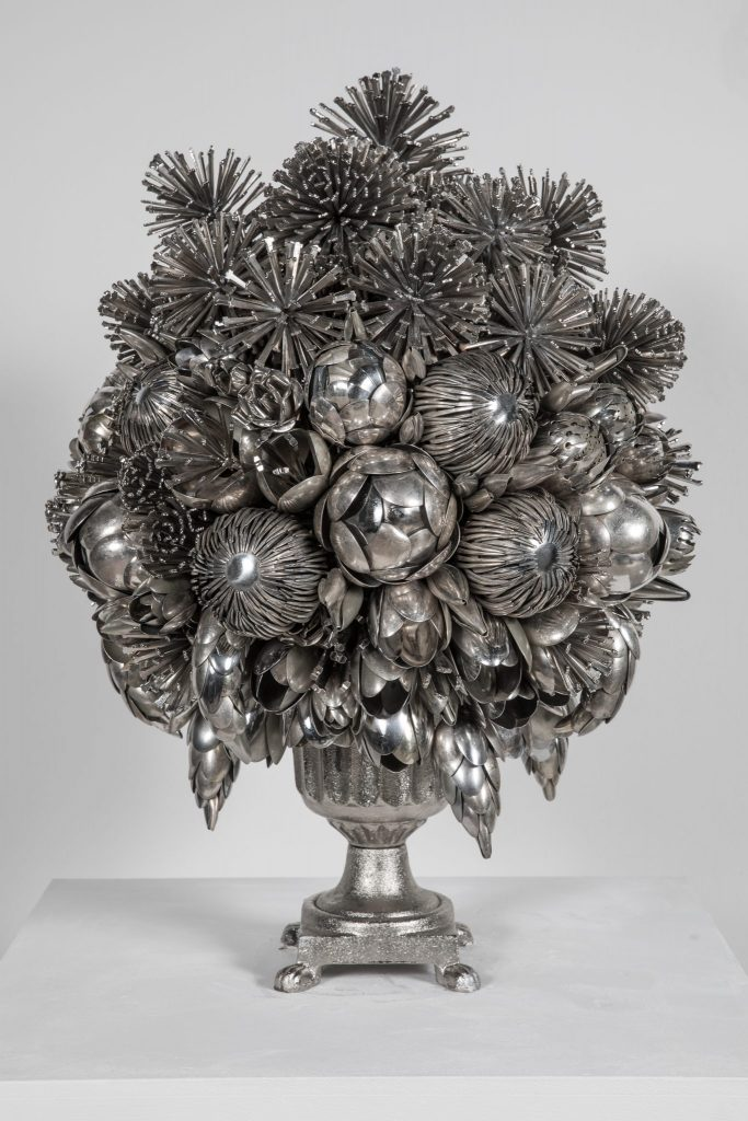 Still life sculptures inspired by the Dutch masters made from spoons