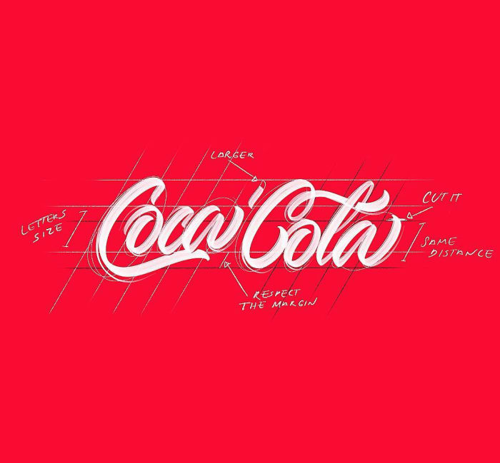 Hand typography of the Coca Cola logo