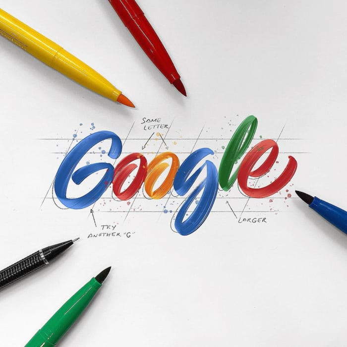 Hand typography of the Google logo