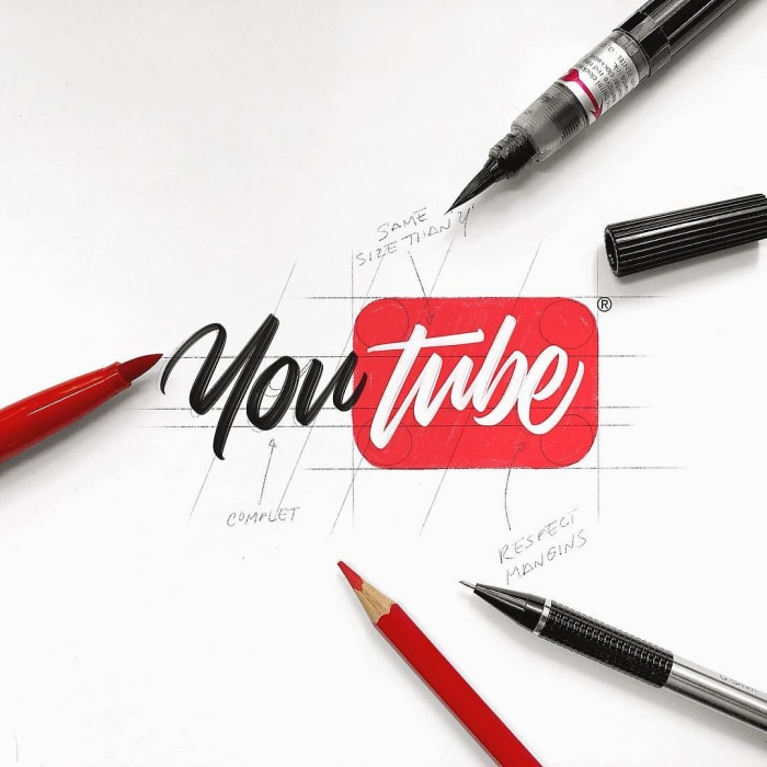 Hand typography of the YouTube logo
