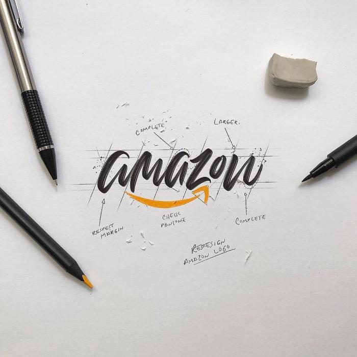 Hand typography of the Amazon logo