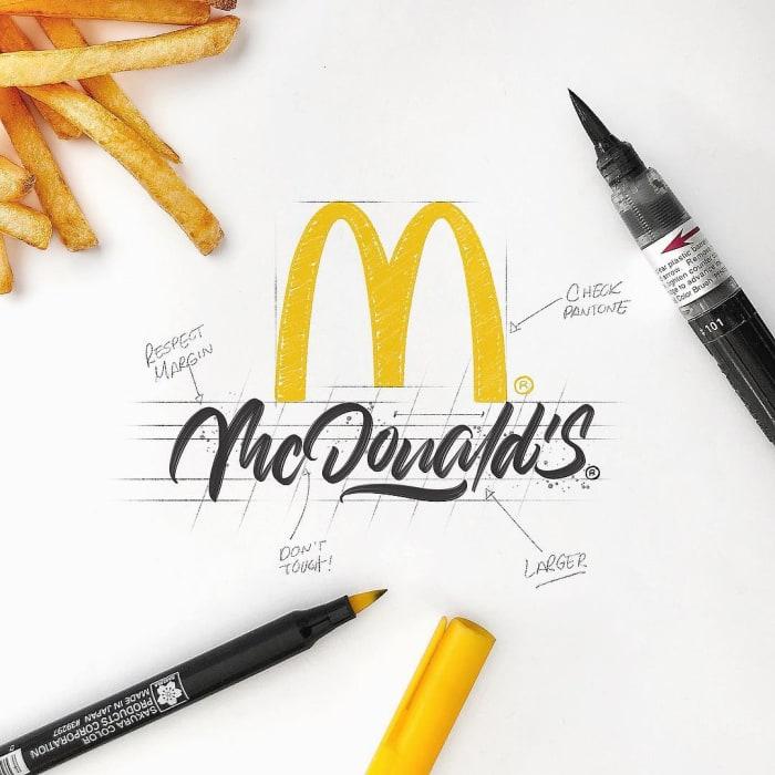 Hand typography of the MacDonald's Logo