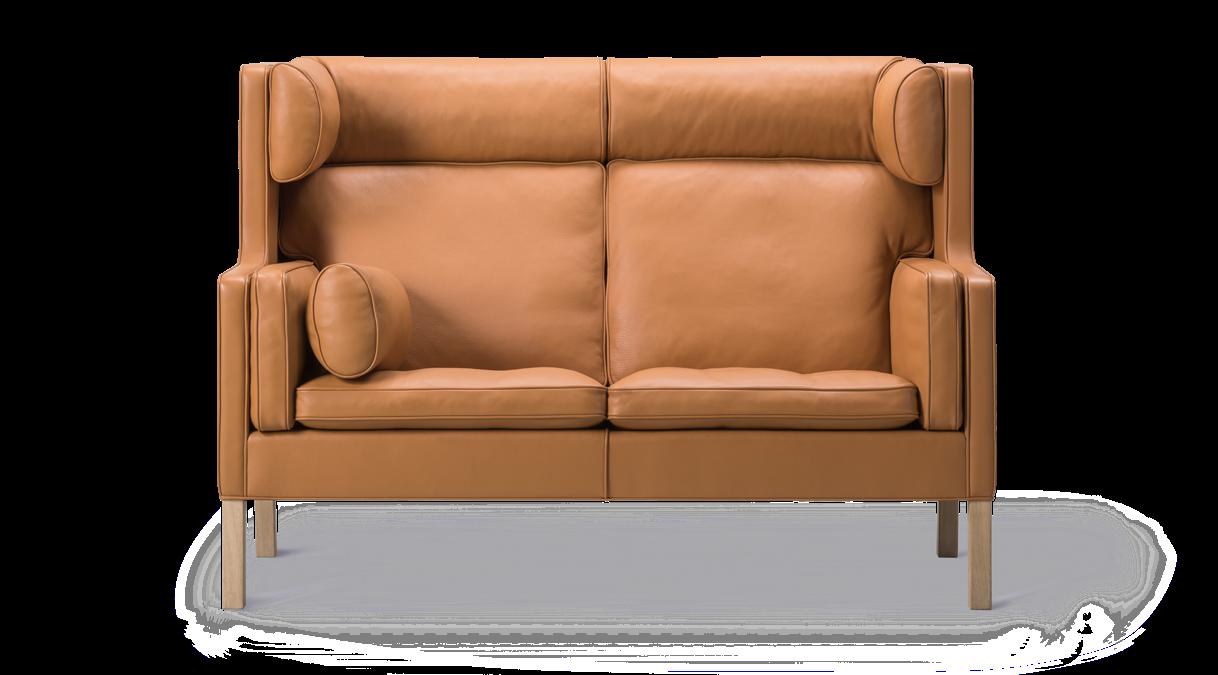 High back leather chair by Danish designer Børge Mogensen