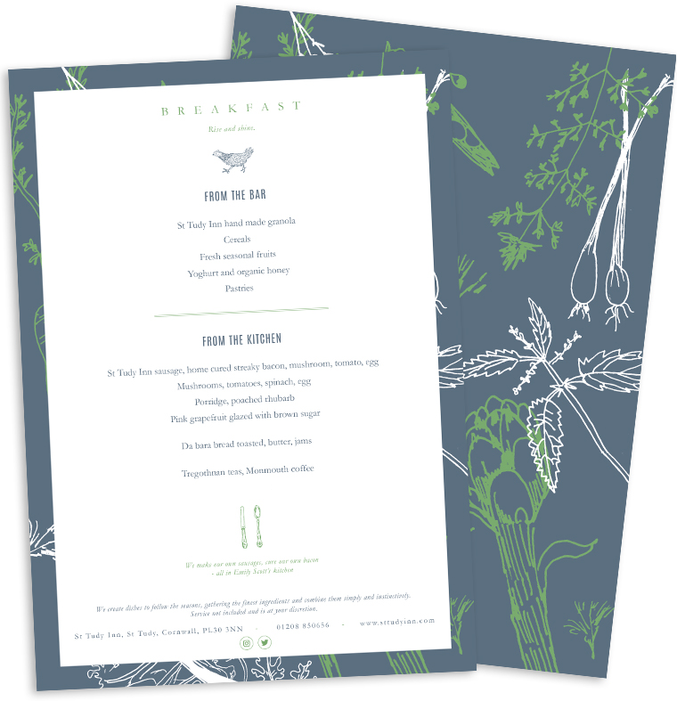 Breakfast menu design for Emily Scott at Study Inn by Pickle Design