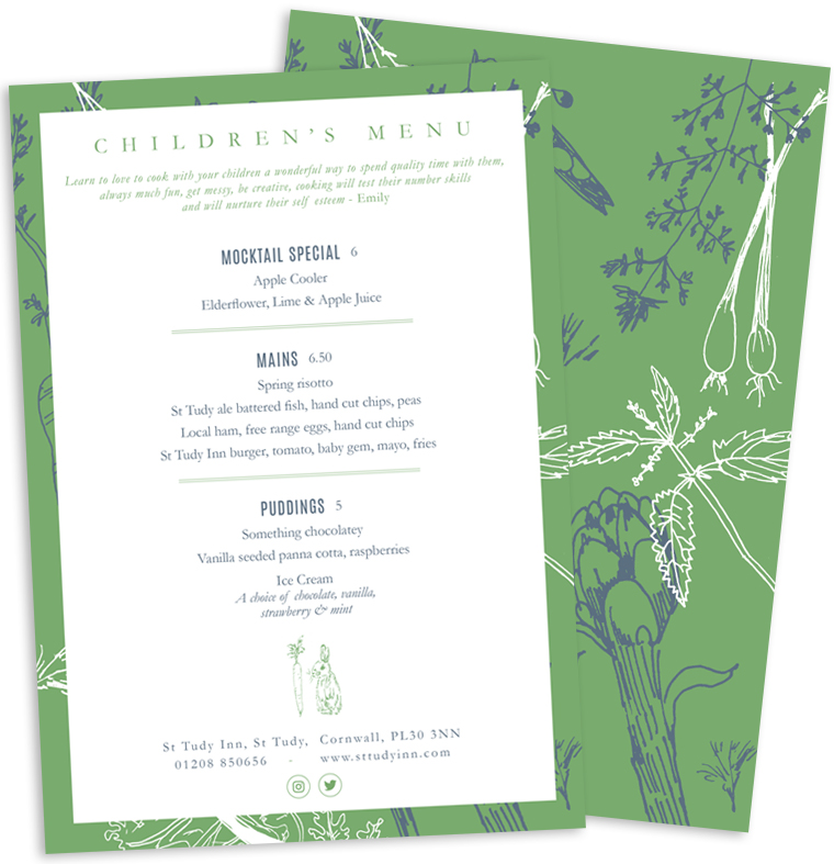 Children's menu for Emily Scott at St Tudy Inn by Pickle Design
