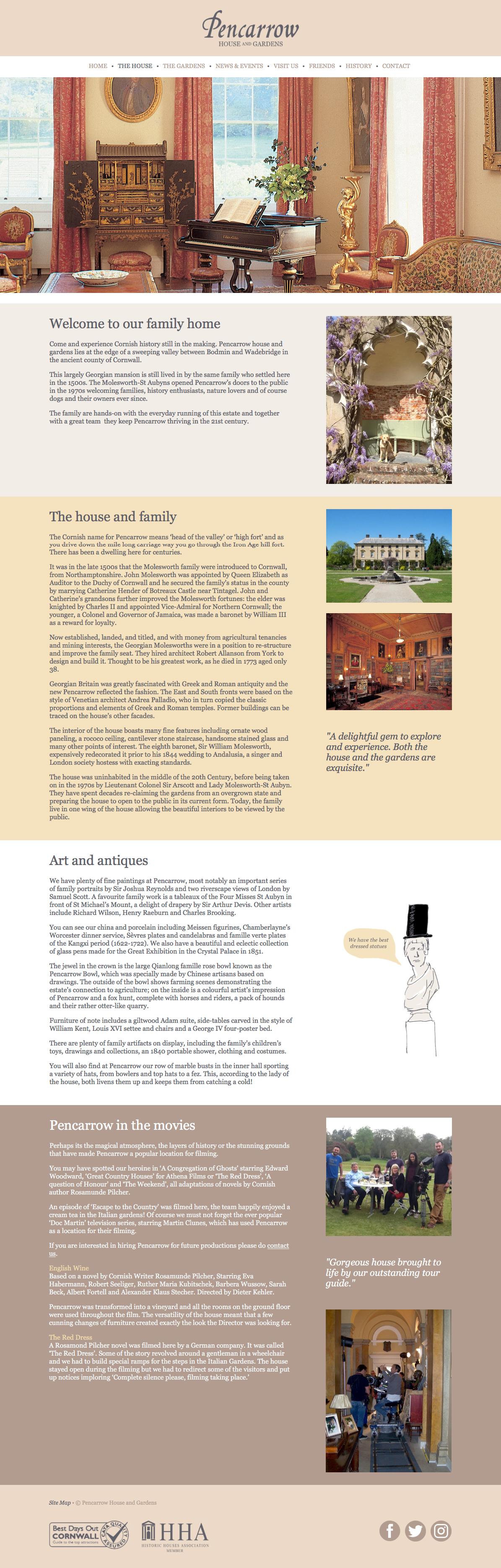 Pencarrow House web design