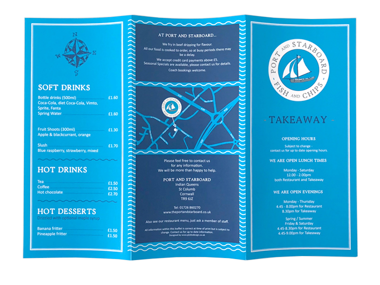 Port and Starboard fish and chips takeaway menus