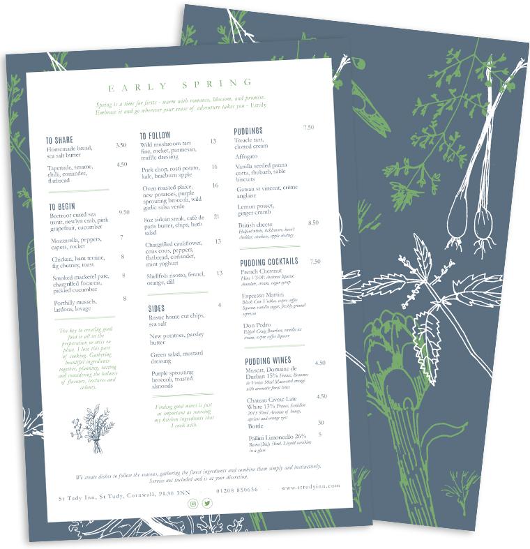 Spring menu design for Emily Scott at Study Inn by Pickle Design