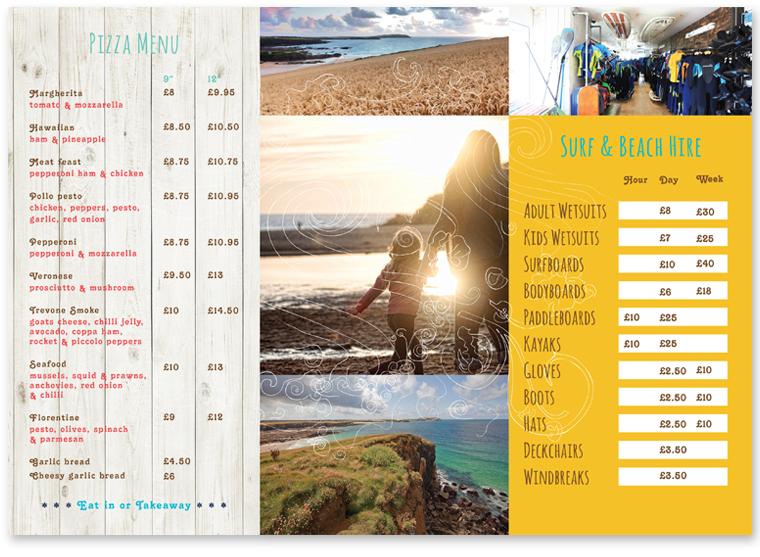 Menu and tourist leaflet design by Pickle Design