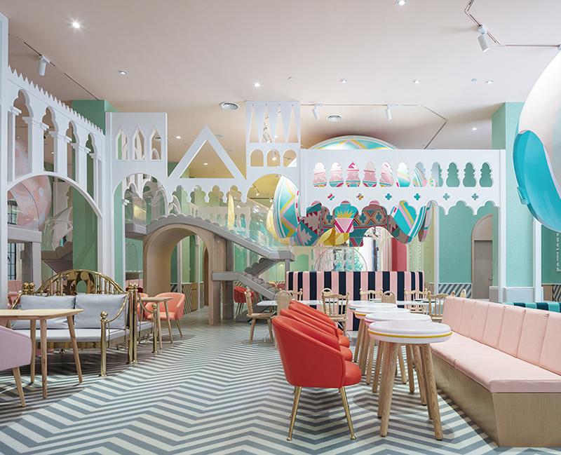 Bright and beautiful children restaurant in Shanghai China