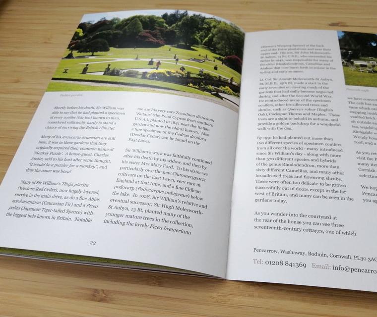 Italian Gardens spread from he Pencarrow guide book